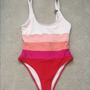 NWT. Forever 21 striped one-piece bathing suit.